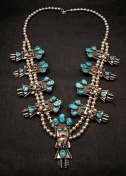 Doris Smallcanyon Navajo Turquoise Kachina Silver Bead Necklace