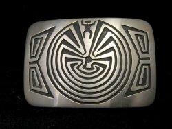Navajo Sterling Silver Man in the Maze Belt Buckle, Stanley Gene