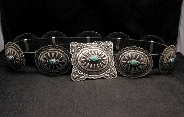 Image 2 of Navajo Darryl Becenti Kingman Turquoise Sterling Silver Concho Belt