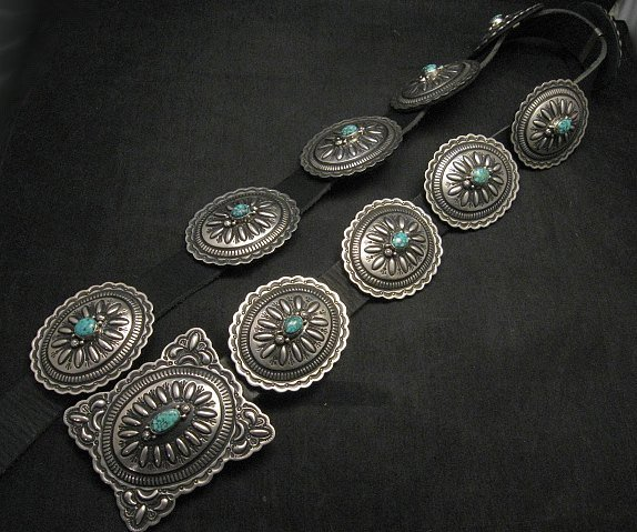 Image 0 of Navajo Darryl Becenti Kingman Turquoise Sterling Silver Concho Belt