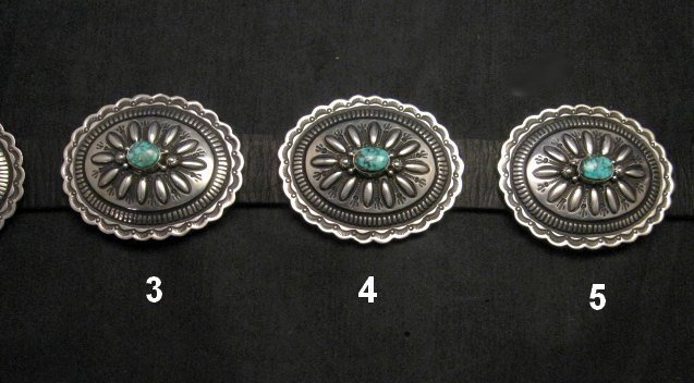 Image 4 of Navajo Darryl Becenti Kingman Turquoise Sterling Silver Concho Belt
