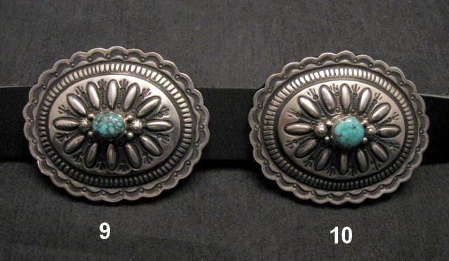 Image 6 of Navajo Darryl Becenti Kingman Turquoise Sterling Silver Concho Belt
