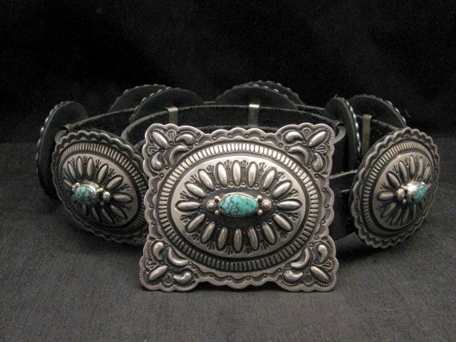 Image 1 of Navajo Darryl Becenti Kingman Turquoise Sterling Silver Concho Belt