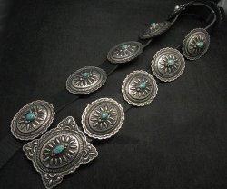 Navajo Darryl Becenti Kingman Turquoise Sterling Silver Concho Belt