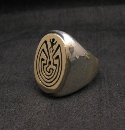 Image 1 of Navajo 14K Gold/Sterling Silver Man in the Maze Ring sz11-1/2, Calvin Peterson
