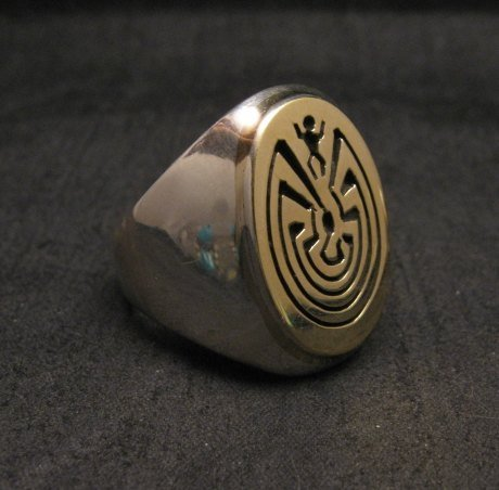Image 2 of Navajo 14K Gold/Sterling Silver Man in the Maze Ring sz11-1/2, Calvin Peterson