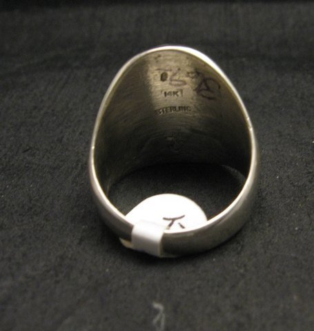 Image 3 of Navajo 14K Gold/Sterling Silver Man in the Maze Ring sz11-1/2, Calvin Peterson