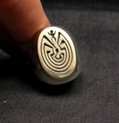 Navajo 14K Gold/Sterling Silver Man in the Maze Ring sz11-1/2, Calvin Peterson