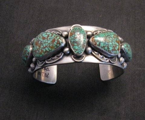 Image 3 of Large Navajo Anderson Parkett Turquoise Silver Cuff Bracelet Native American