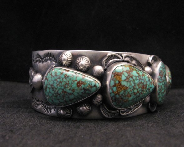 Image 4 of Large Navajo Anderson Parkett Turquoise Silver Cuff Bracelet Native American