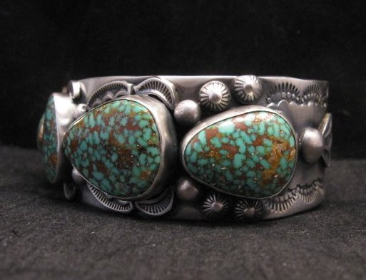 Image 5 of Large Navajo Anderson Parkett Turquoise Silver Cuff Bracelet Native American