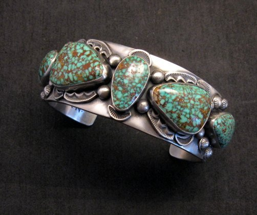 Image 1 of Large Navajo Anderson Parkett Turquoise Silver Cuff Bracelet Native American