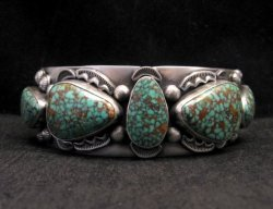 Large Navajo Anderson Parkett Turquoise Silver Cuff Bracelet Native American