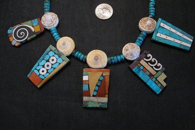 Image 1 of Fabulous Santo Domingo Mosaic Inlay Turquoise Bead Necklace, Mary Tafoya