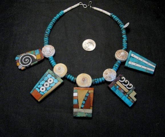 Image 0 of Fabulous Santo Domingo Mosaic Inlay Turquoise Bead Necklace, Mary Tafoya