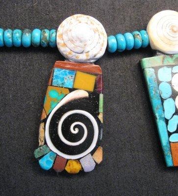 Image 2 of Fabulous Santo Domingo Mosaic Inlay Turquoise Bead Necklace, Mary Tafoya