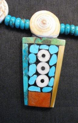 Image 3 of Fabulous Santo Domingo Mosaic Inlay Turquoise Bead Necklace, Mary Tafoya