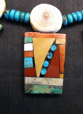 Image 4 of Fabulous Santo Domingo Mosaic Inlay Turquoise Bead Necklace, Mary Tafoya