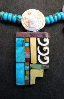 Image 5 of Fabulous Santo Domingo Mosaic Inlay Turquoise Bead Necklace, Mary Tafoya
