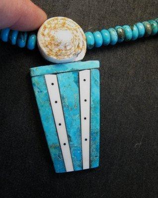 Image 6 of Fabulous Santo Domingo Mosaic Inlay Turquoise Bead Necklace, Mary Tafoya
