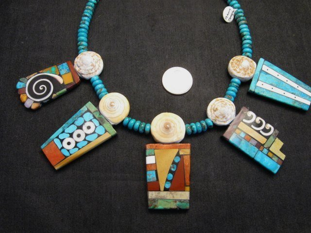 Image 8 of Fabulous Santo Domingo Mosaic Inlay Turquoise Bead Necklace, Mary Tafoya
