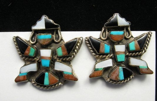 Image 0 of Vintage Zuni Multi Inlay Knifewing Earrings, screwback
