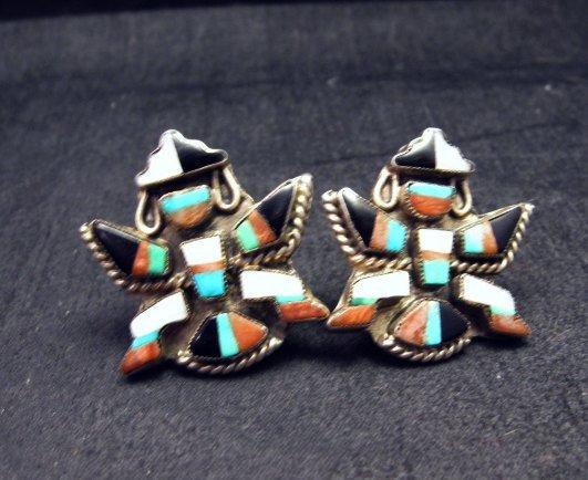 Image 2 of Vintage Zuni Multi Inlay Knifewing Earrings, screwback