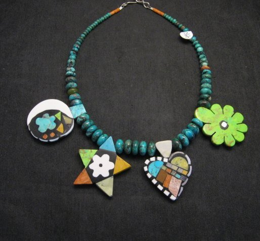 Image 0 of One of a kind Santo Domingo  Mosaic Inlay Turquoise Bead Necklace, Mary Tafoya