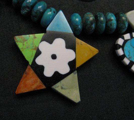Image 4 of One of a kind Santo Domingo  Mosaic Inlay Turquoise Bead Necklace, Mary Tafoya
