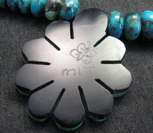 Image 7 of One of a kind Santo Domingo  Mosaic Inlay Turquoise Bead Necklace, Mary Tafoya