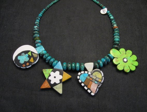 Image 8 of One of a kind Santo Domingo  Mosaic Inlay Turquoise Bead Necklace, Mary Tafoya