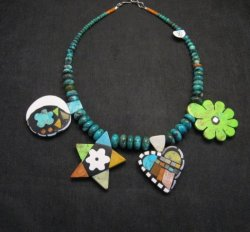 One of a kind Santo Domingo  Mosaic Inlay Turquoise Bead Necklace, Mary Tafoya