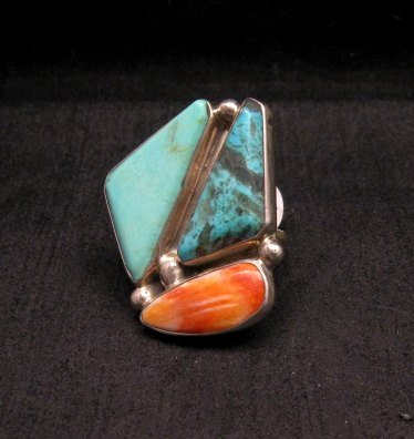 Image 1 of One of a Kind Turquoise Spiny Oyster Adjustable Ring by Adam Fierro sz6-9