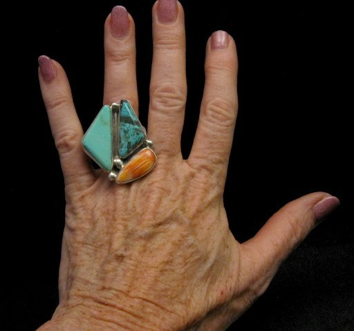 Image 4 of One of a Kind Turquoise Spiny Oyster Adjustable Ring by Adam Fierro sz6-9