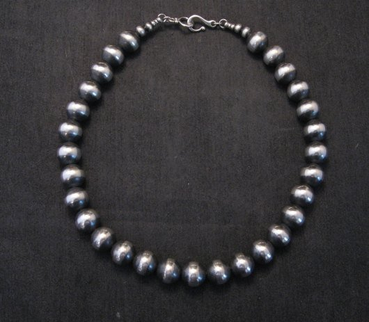 Image 0 of Native American 12mm Bead Navajo Pearls Sterling Silver Necklace 16-inch long