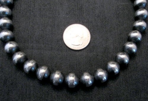 Image 2 of Native American 12mm Bead Navajo Pearls Sterling Silver Necklace 16-inch long