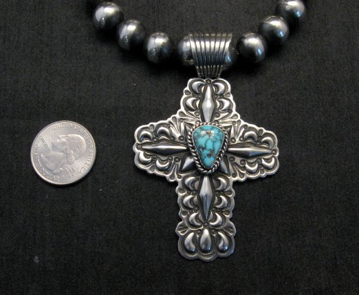 Image 2 of Native American Turquoise Cross Pendant, Darryl Becenti