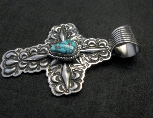 Image 1 of Native American Turquoise Cross Pendant, Darryl Becenti