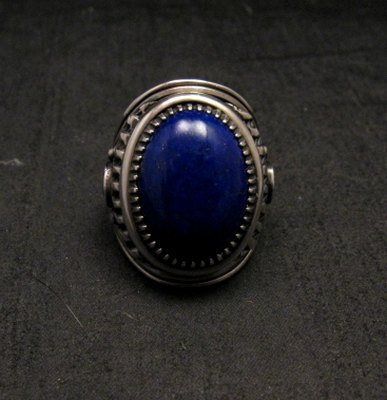 Image 0 of Native American Navajo Lapis Lazuli Sterling Ring Sz9, Derrick Gordon