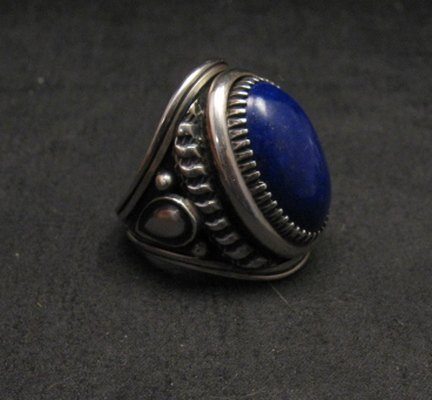 Image 1 of Native American Navajo Lapis Lazuli Sterling Ring Sz9, Derrick Gordon