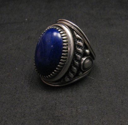 Image 2 of Native American Navajo Lapis Lazuli Sterling Ring Sz9, Derrick Gordon
