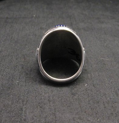 Image 4 of Native American Navajo Lapis Lazuli Sterling Ring Sz9, Derrick Gordon