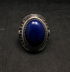 Native American Navajo Lapis Lazuli Sterling Ring Sz9, Derrick Gordon