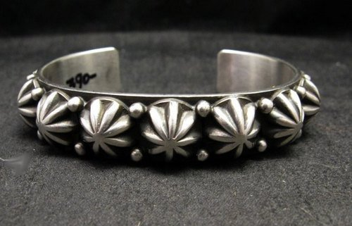 Image 0 of Navajo Old Pawn Style Starred Button Studded Silver Bracelet, Happy Piasso