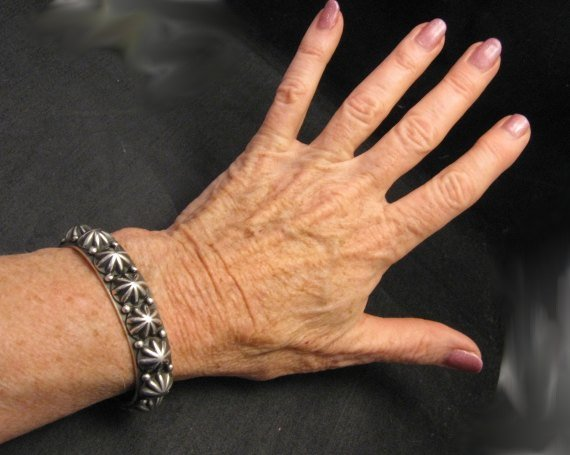 Image 2 of Navajo Old Pawn Style Starred Button Studded Silver Bracelet, Happy Piasso