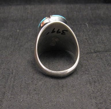 Image 3 of Large Amy Wesley Zuni Turquoise Hummingbird Sterling Silver Ring sz10