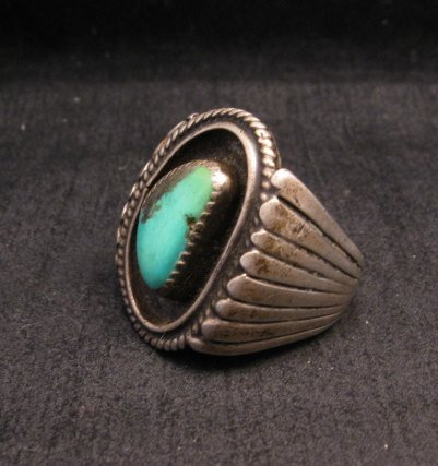 Image 1 of Big Vintage Native American Turquoise Silver Shadowbox Ring sz14