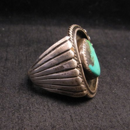 Image 2 of Big Vintage Native American Turquoise Silver Shadowbox Ring sz14