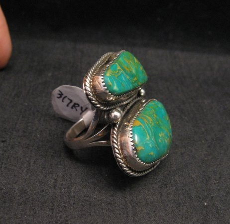 Image 2 of Native American Navajo Turquoise Silver Ring sz8-1/4, La Rose Ganadonegro