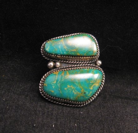 Image 4 of Native American Navajo Turquoise Silver Ring sz8-1/4, La Rose Ganadonegro